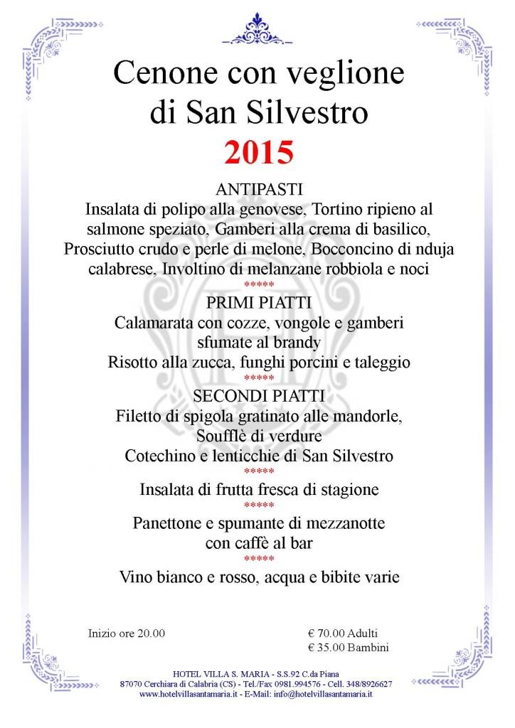 Menù S. Silvestro 2015